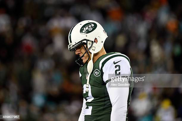 Nick Folk of the New York Jets reacts after a kick against the Miami Dolphins in the fourth quarter during their game at MetLife Stadium on December...