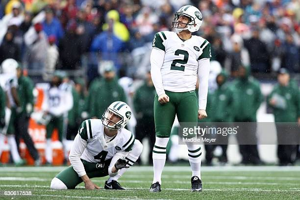 Nick Folk of the New York Jets reacts after missing a field goal during the first half against the New England Patriots at Gillette Stadium on...