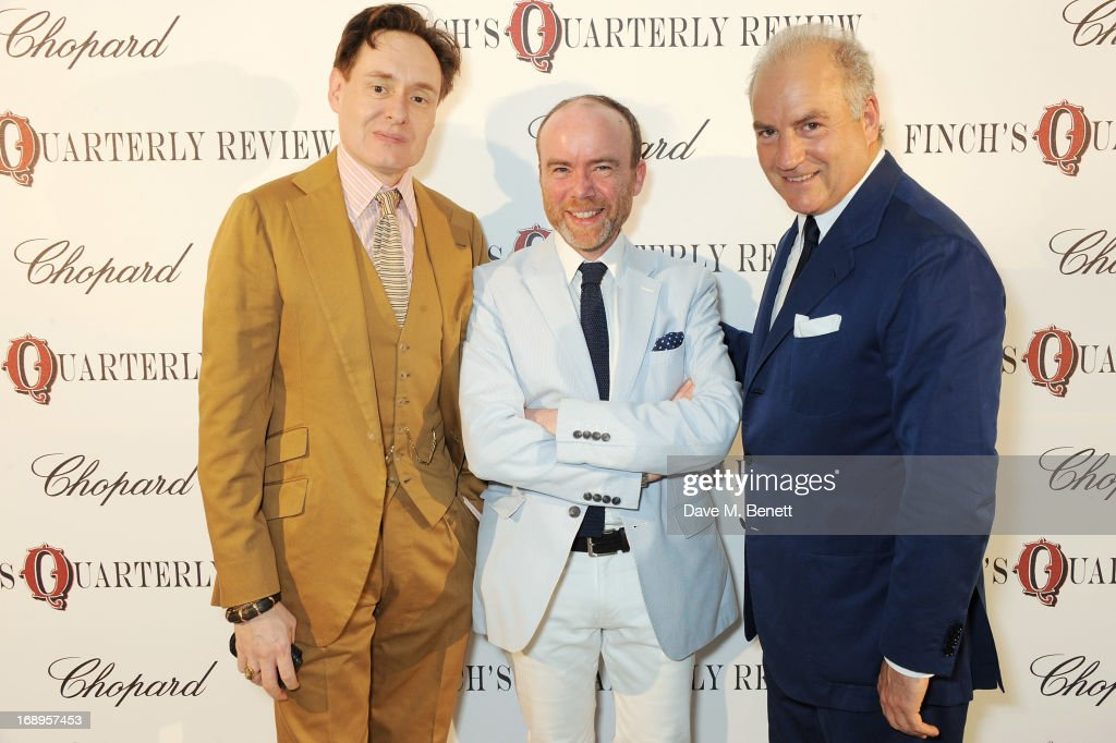 Nick Foulkes, Tristram Fetherstonhaugh and Charles Finch attend the annual Finch's Quarterly Review Filmmakers Dinner hosted by Charles Finch, Caroline Scheufele and Nick Foulkes at Hotel Du Cap Eden Roc on May 17, 2013 in Antibes, France.