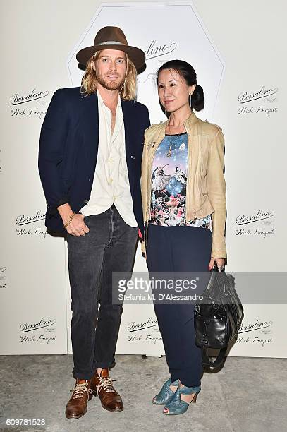 Nick Fouquet and guest attend the Borsalino By Nick Fouquet Capsule Collection Cocktail Launch during Milan Fashion Week Spring/Summer 2017 on...