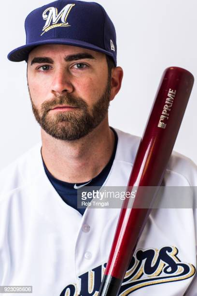 Nick Franklin of the Milwaukee Brewers poses for a portrait during Photo Day at the Milwaukee Brewers Spring Training Complex on February 22 2018 in...
