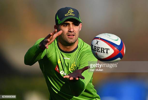 Nick Frisby catches the ball during an Australia training session at Harrow School on December 1 2016 in London England Australia are due to face...