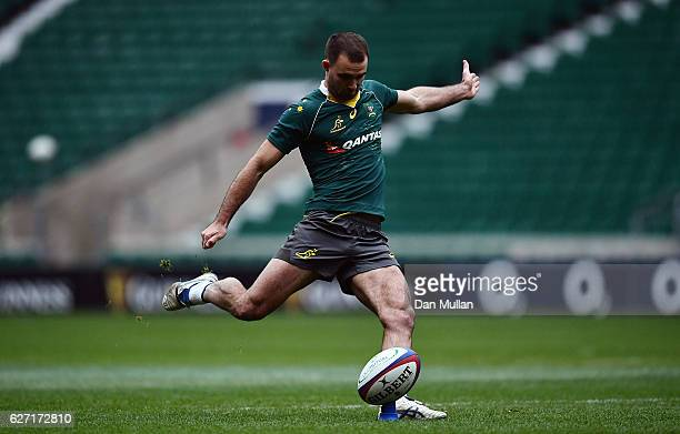 Nick Frisby of Australia practices his kicking during the Australia Captain's Run on the eve of the Old Mutual Wealth match against England at...