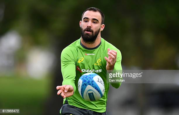 Nick Frisby of Australia releases a pass during an Australia training session at The Lensbury Hotel on October 6 2016 in London United Kingdom
