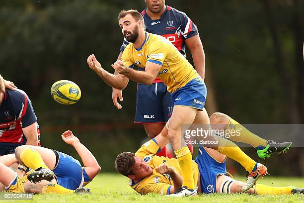 Nick Frisby of City passes the ball during the round four NRC match between Melbourne Rising and Brisbane City at Harlequins Oval on September 17...