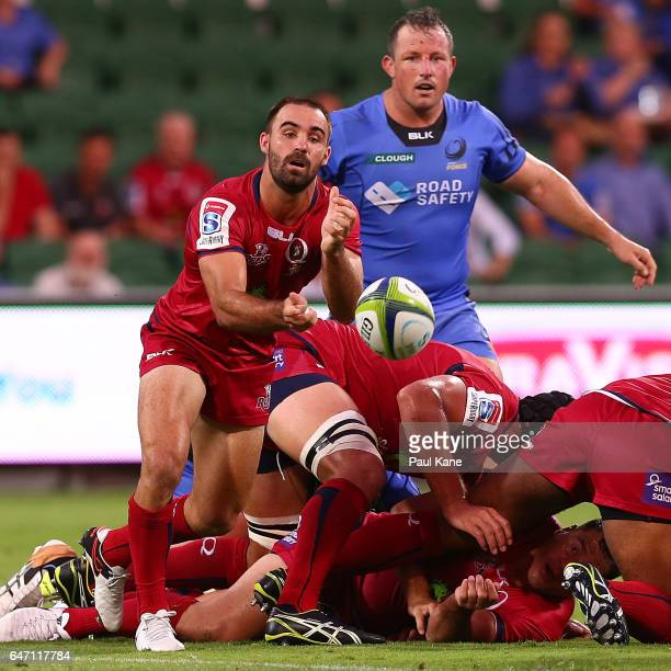 Nick Frisby of the Reds passes the ball during the round two Super Rugby match between the Western Force and the Reds at nib Stadium on March 2 2017...