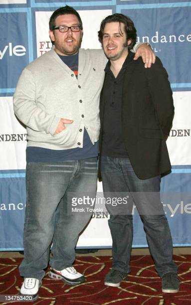 Nick Frost and Edgar Wright during Preview screening of 'Hot Fuzz' in Los Angeles at Pacific's Grove Stadium 14 in Los Angeles California United...