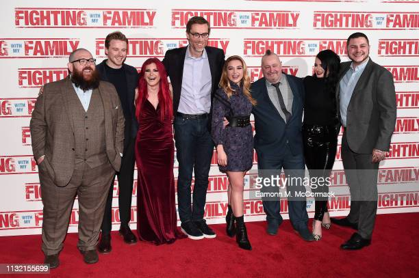 Nick Frost Jack Lowden Saraya Knight Stephen Merchant Florence Pugh Ricky Knight Paige Knight and Zak Knight attend the UK Premiere of Fighting With...
