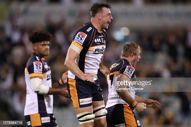 Nick Frost of the Brumbies celebrates winning the Super Rugby AU Grand Final between the Brumbies and the Reds at GIO Stadium on September 19, 2020...