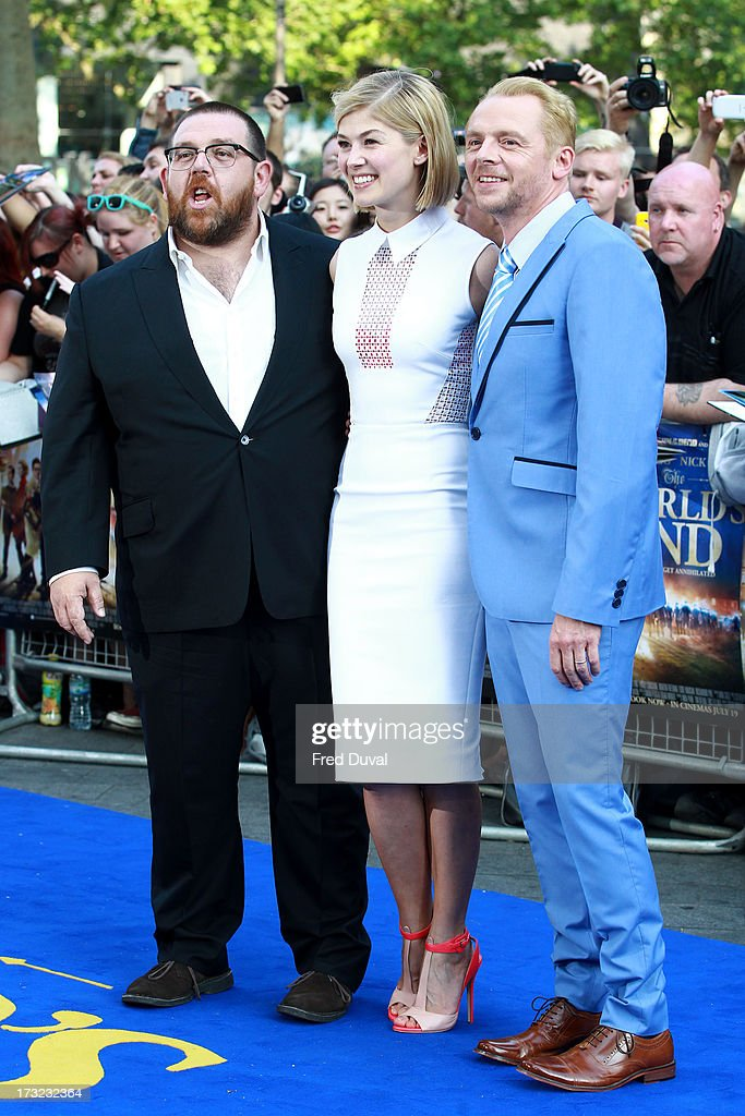 Nick Frost, Rosamund Pike and Simon Pegg attend the World film Premiere of 'The World's End' at The Empire Cinema on July 10, 2013 in London, England.