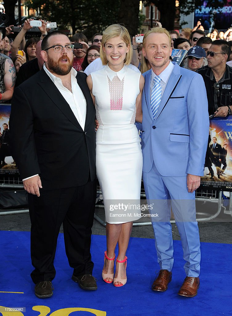 Nick Frost, Rosamund Pike and Simon Pegg attend the World Premiere of 'The World's End' at Empire Leicester Square on July 10, 2013 in London, England.