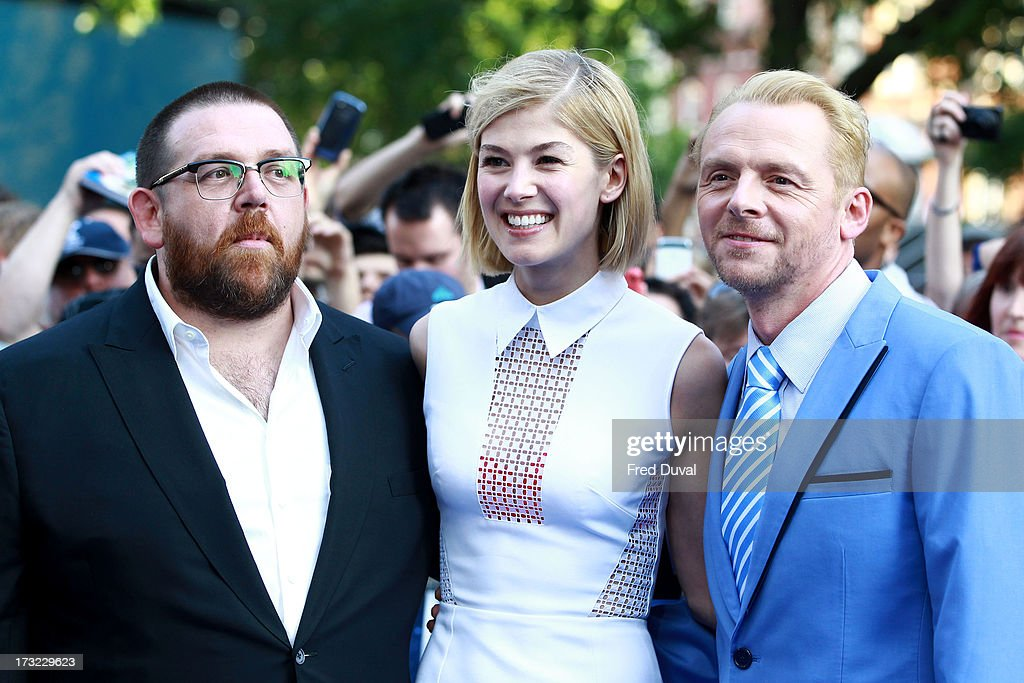 Nick Frost, Rosamund Pike and Simon Pegg attend the World Premiere of 'The World's End' at The Empire Cinema on July 10, 2013 in London, England.