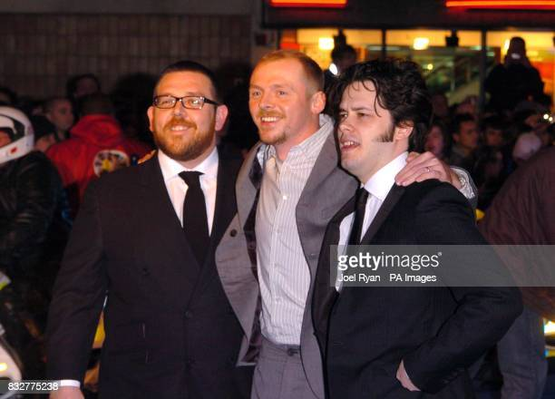 Nick Frost Simon Pegg and Edgar Wright arrive for the World Premiere of Hot Fuzz at the Vue West End in Leicester Square central London
