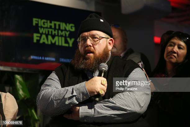 Nick Frost speaks onstage during the Stella Artois Deadline Sundance Series at Stella's Film Lounge A Live QA with the filmmakers and cast of...