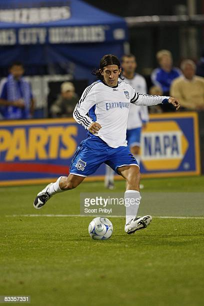Nick Garcia of the San Jose Earthquakes crosses the ball against the Kansas City Wizards during the game at Community America Ballpark on October 18...