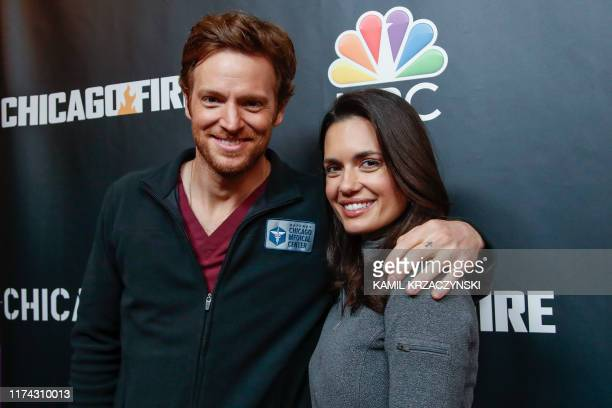 """Nick Gehlfuss and Torrey DeVitto attend the 2019 press day for TV shows """"Chicago Fire"""", """"Chicago PD"""", and """"Chicago Med"""" on October 7, 2019 in..."""