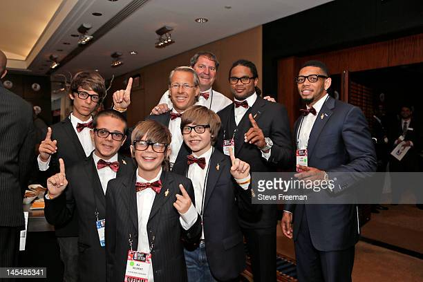 Nick Gilbert and friends of the Cleveland Cavaliers including Cleveland Browns Josh Cribbs Joe Hadden and Legend Bernie Kosar show their pride during...
