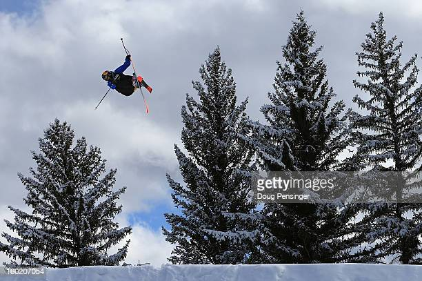 Nick Goepper soars off a jump en route to winning the gold medal in the Men's Ski Slopestyle Final during the Winter X Games Aspen 2013 at Buttermilk...