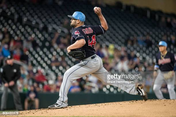 Nick Goody of the Cleveland Indians pitches against the Minnesota Twins in game two of a doubleheader on June 17 2017 at Target Field in Minneapolis...