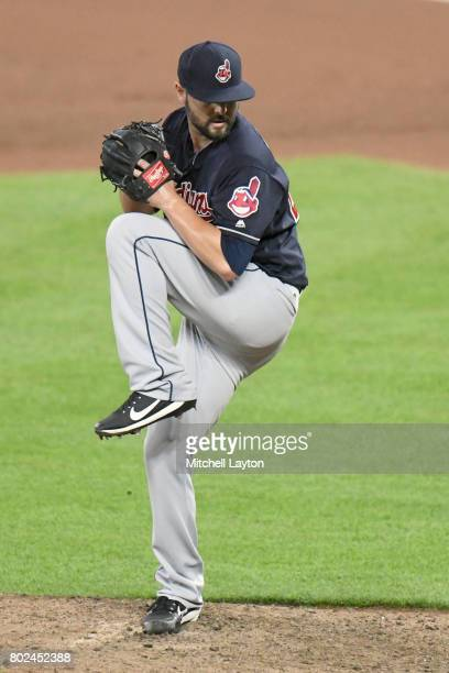 Nick Goody of the Cleveland Indians pitches during a baseball game against the Baltimore Orioles at Oriole Park at Camden Yards on June 22 2017 in...