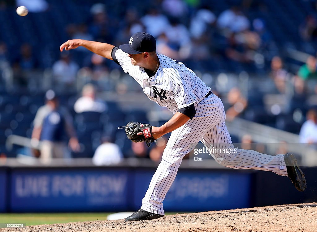 Nick Goody #74 of the New York Yankees delivers a pitch in the ninth inning against the Houston Astros on August 26, 2015 at Yankee Stadium in the Bronx borough of New York City.