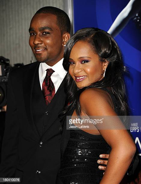 Nick Gordon and Bobbi Kristina Brown attend the premiere of Sparkle at Grauman's Chinese Theatre on August 16 2012 in Hollywood California