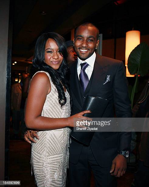 Nick Gordon and Bobbi Kristina Brown attends The Houstons On Our Own series premiere party at the Tribeca Grand Hotel on October 22 2012 in New York...