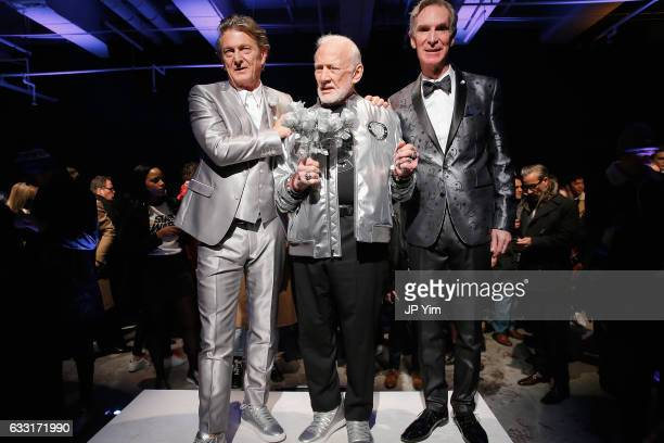 Nick Graham Buzz Aldrin and Bill Nye pose on the runway at the Nick Graham NYFW Men's F/W '17 show on January 31 2017 in New York City