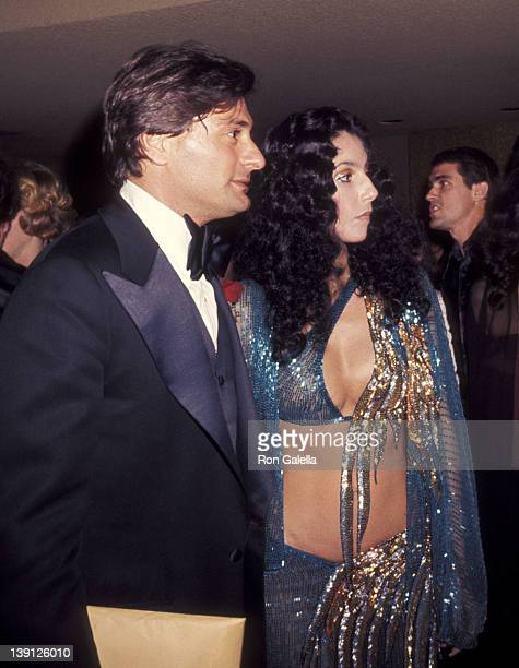 Nick Grant and singer Cher attend the Joseph Andrews Premiere Party on March 9 1977 at Century Plaza Hotel in Los Angeles California