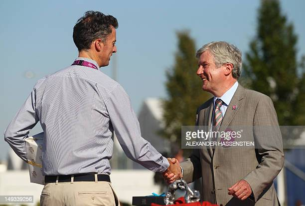 Nick Green , chef de mission of Australia is welcomed during a ceremony at the Olympic Village ahead of the London 2012 Olympic Games at the Olympic...