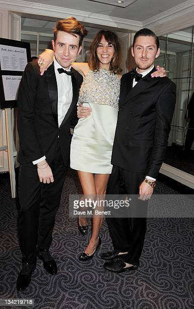 Nick Grimshaw Alexa Chung and Henry Holland attend a drinks reception at the British Fashion Awards 2011 held at The Savoy Hotel on November 28 2011...
