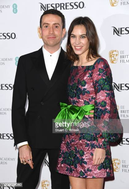 Nick Grimshaw and Alexa Chung attend the Nespresso British Academy Film Awards nominees party at Kensington Palace on February 9 2019 in London...