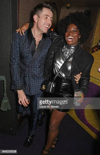 Nick Grimshaw and Clara Amfo attend the LOVE magazine x Miu Miu party held during London Fashion Week at Loulou's on September 18 2017 in London...