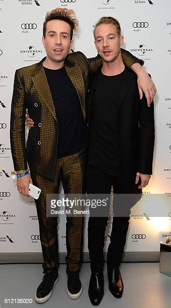 Nick Grimshaw and Diplo attend the Universal Music BRIT Awards AfterParty 2016 in collaboration with Soho House and BACARDI on February 24 2016 in...