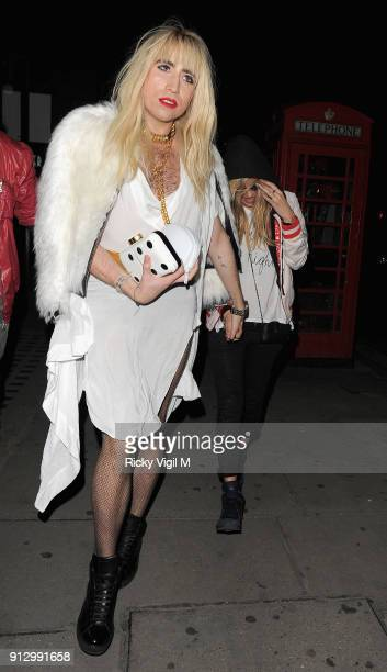 Nick Grimshaw and Kate Moss attend the Death Of A Geisha VIP Halloween Party on November 1 2014 in London England