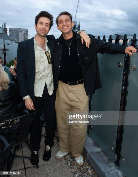 Nick Grimshaw and Oliver Sim attend the Radio 1 leaving party for Annie Mac at The London EDITION on July 30, 2021 in London, England.