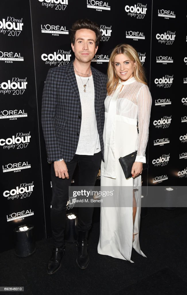 Nick Grimshaw (L) and Olivia Cox attend the L'Oreal Colour Trophy Grand Final 2017 at Battersea Evolution on June 5, 2017 in London, England.