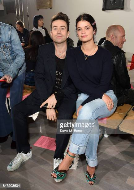 Nick Grimshaw and Pixie Geldof attend the Ashley Williams show during London Fashion Week September 2017 at The Swiss Church on September 15 2017 in...