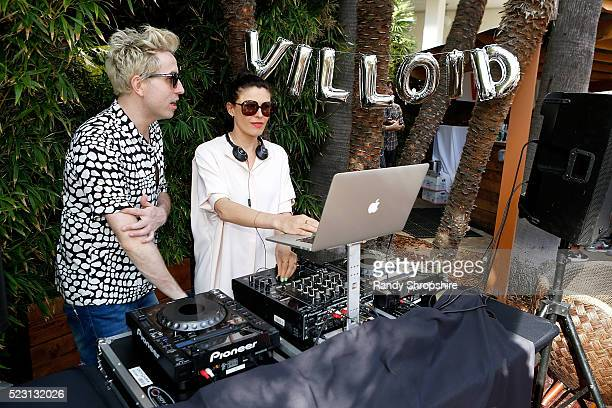 Nick Grimshaw and Tabitha Denholm attend the Villoid garden tea party hosted by Alexa Chung at the Hollywood Roosevelt Hotel on April 21 2016 in...