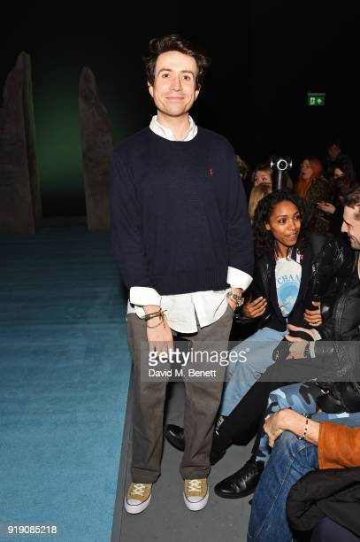 Nick Grimshaw attends the Ashley Williams show during London Fashion Week February 2018 at Ambika P3 on February 16 2018 in London England