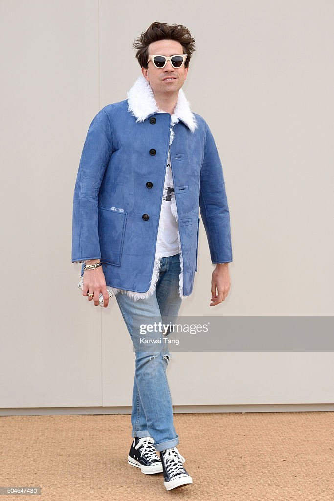 Nick Grimshaw attends the Burberry show during The London Collections Men AW16 at Kensington Gardens on January 11, 2016 in London, England.