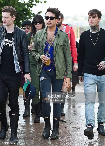 Nick Grimshaw attends the Glastonbury Festival at Worthy Farm Pilton on June 26 2015 in Glastonbury England