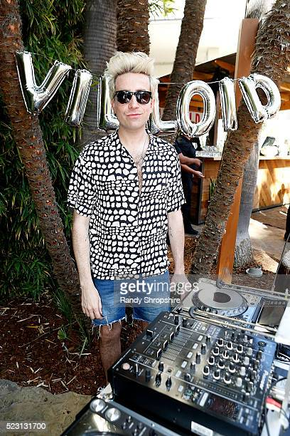 Nick Grimshaw attends the Villoid garden tea party hosted by Alexa Chung at the Hollywood Roosevelt Hotel on April 21 2016 in Hollywood California