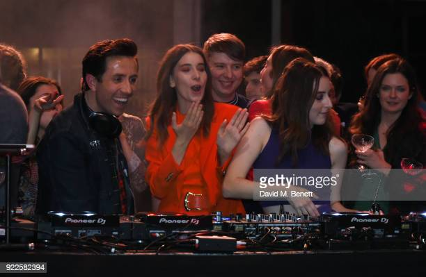 Nick Grimshaw Danielle Haim and Alana Haim attend the Universal Music BRIT Awards AfterParty 2018 hosted by Soho House and Bacardi at The Ned on...