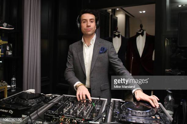 Nick Grimshaw DJ's during the Swatch x Hackett new Sistem51 launch event at Hackett Regent Street on November 01 2018 in London England