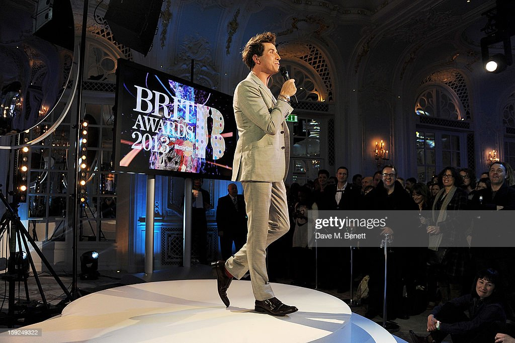 Nick Grimshaw hosts the BRIT Awards nominations announcement at The Savoy Hotel on January 10, 2013 in London, England.
