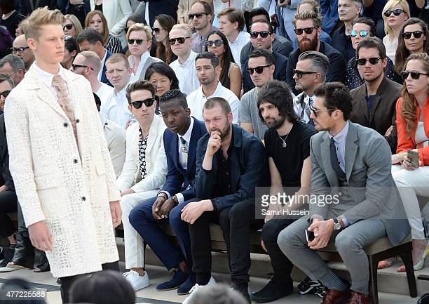 Nick Grimshaw Jamal Edwards Tom Meighan Serge Pizzorno and David Gandy sit in the front row at Burberry Menswear Spring/Summer 2016 show at...