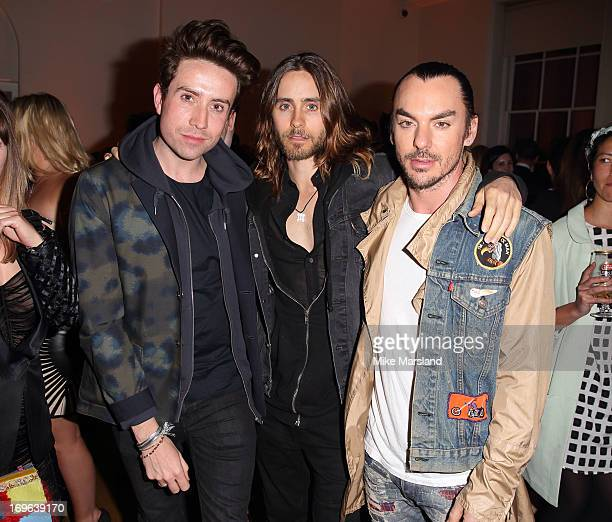 Nick Grimshaw Jared Leto and Shannon Leto attend Esquire magazine's summer party at Somerset House on May 29 2013 in London England