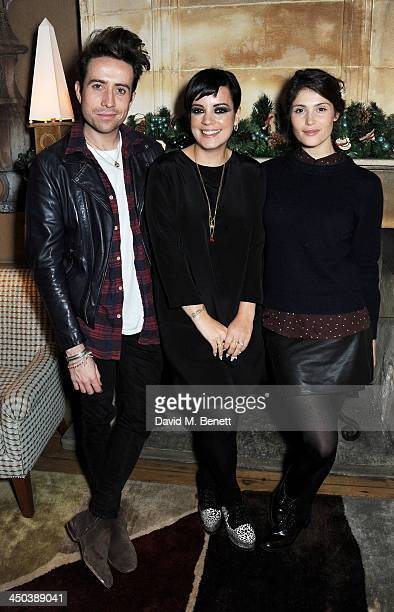 Nick Grimshaw Lily Allen and Gemma Arterton attend a private screening of Saving Mr Banks hosted by Lily Allen at the Charlotte Street Hotel on...