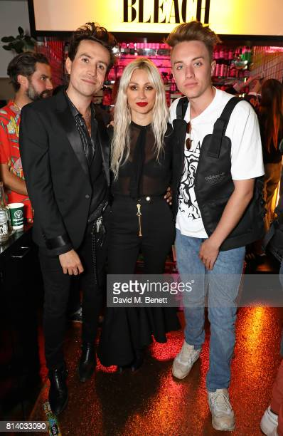 Nick Grimshaw Lou Teasdale and Roman Kemp attend the launch of Bleach London's new makeup and hair collections on July 13 2017 in London England